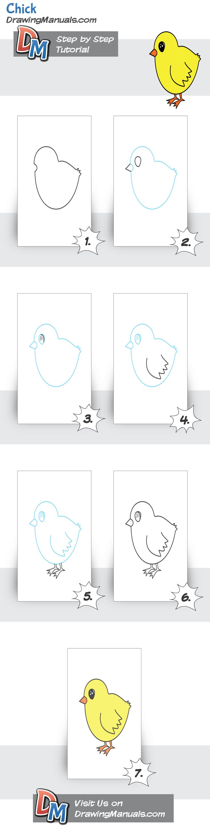 How to draw a baby chicken - photo#42