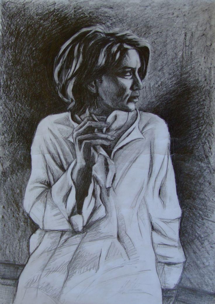 A girl smoking a cigarette by Natalia Bienek, pencil on paper
