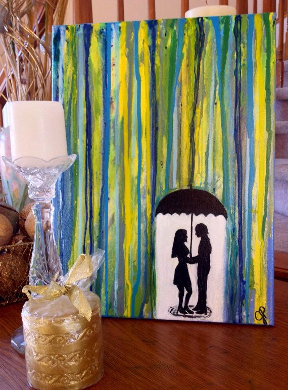 Romantic painting of silhouette couple under umbrella in the rain. A 12x16 side-painted canvas.
