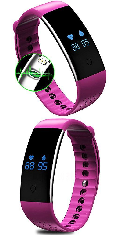 AWOW Waterproof Fitness Tracker with Heart Rate Monitor Blood Oxygen Sensor for Exercise Red