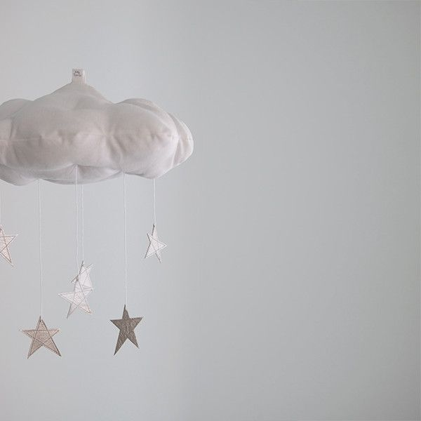 Baby Jives Star Cloud Mobile - This handmade cloud mobile is scattered with silver stars to twinkle and delight your little dreamer. The perfect touch for a modern nursery.