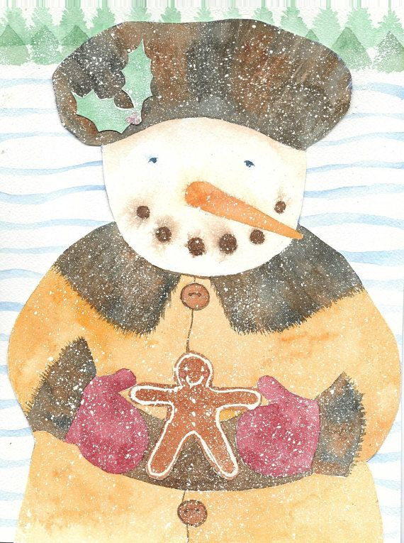 Snowman Christmas Cards Based On Original Watercolor