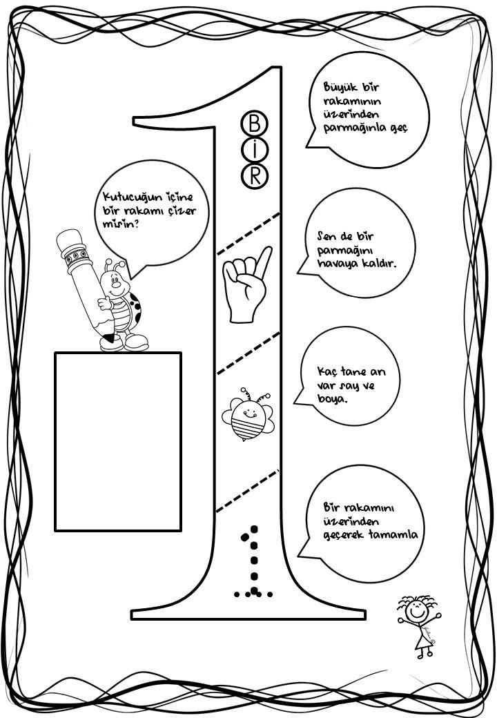 Bir 1 Rakam Sayı Kavram Sayıçalışması Okulöncesi çalışma