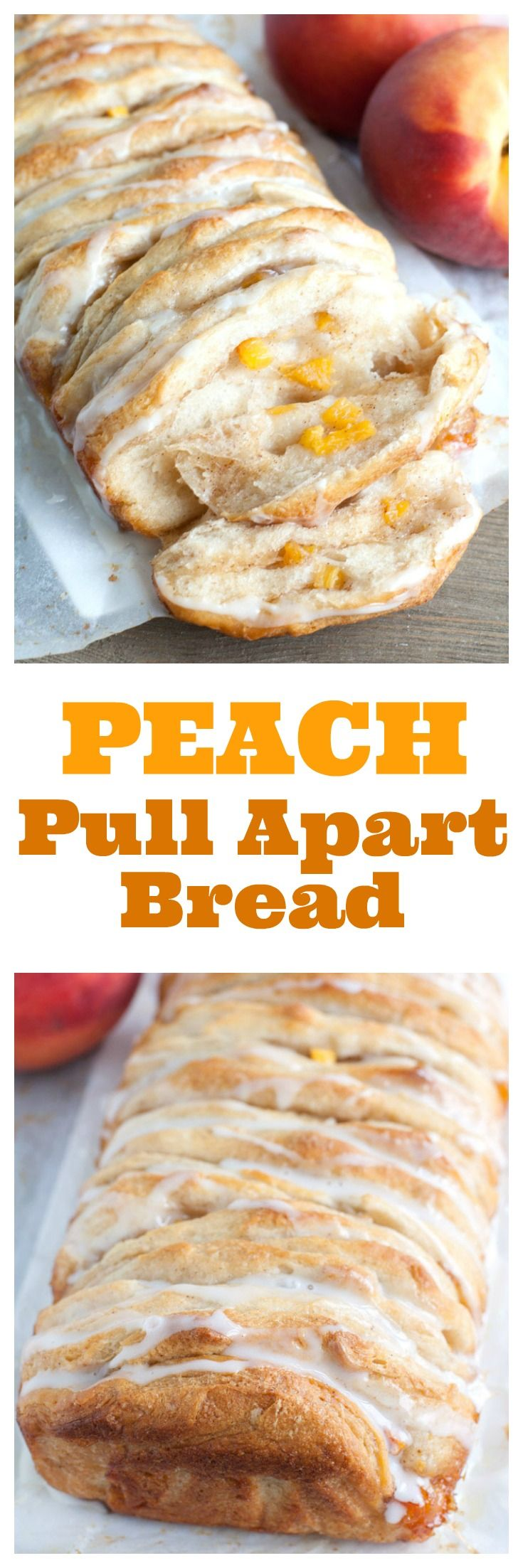 Peach Pull Apart Bread made with biscuits, brown sugar, cinnamon and fresh peaches.Perfect for breakfast or dessert.| pull apart bread| peach bread