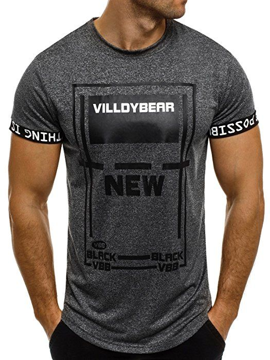 OZONEE Herren T-Shirt mit Motiv Kurzarm Rundhals Figurbetont J.STYLE SS036 ANTHRAZIT M