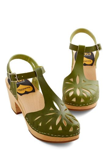 Swedish Hasbeens Cutout For Anything Heel in Fern | Mod Retro Vintage Heels | ModCloth.com
