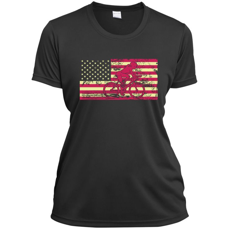 Female Cyclist Silhouette On The American Flag Ladies Short Sleeve Moisture-Wicking Shirt