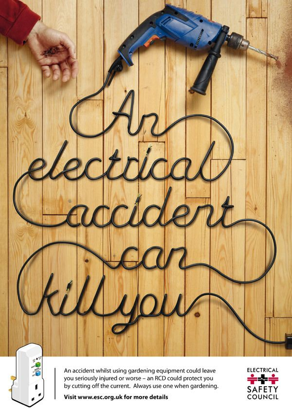 Electrical Safety Campaign on the Behance Network I love the creativity! I've always thought this is a good idea, to use some type of cord to make out words. I think it looks really cool and they make it really easy to read. Also the message is good.
