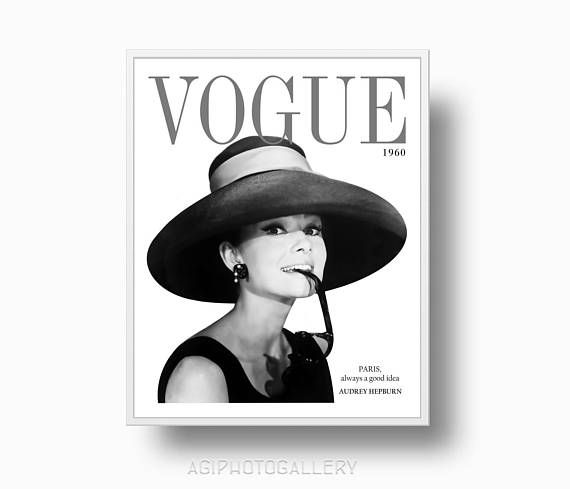 vogue cover girl face Paris pink print poster