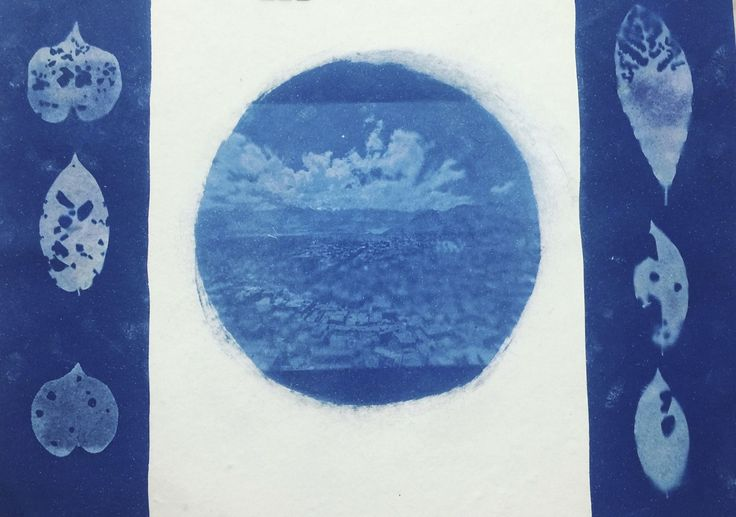 City of Dreams, Ink painting by Jagrut Raval . A cyanotype print - an old photographic process from 1840 during the inception of photography, made with two chemicals ferric ammonium citrate and potassium ferricyanide to give the prussian blue colour to the print.