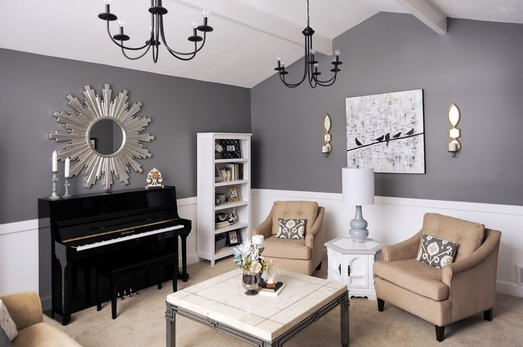 Living room, white, gray, charcoal, gold, metallic, black, etsy, pillows, diy, lamp, midcentury, modern, contemporary, piano, black piano, upright piano, zgallerie, zgallerie sunburst mirror, sunburst mirror, bird on a wire, canvas, overstock, ikea, ksl, classified, interior design, living room, family room, chic, interiors, salt lake city, utah, design, studio 7
