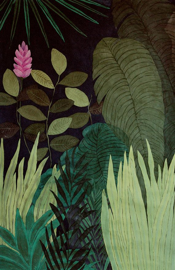 Green Jungle   illustration  giclee print by artandpeople on Etsy