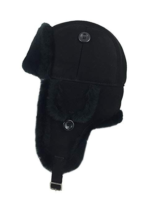 Zavelio Trapper Trooper Leather Aviator Genuine Shearling Sheepskin Hat  Review 19bdc9b5b35e