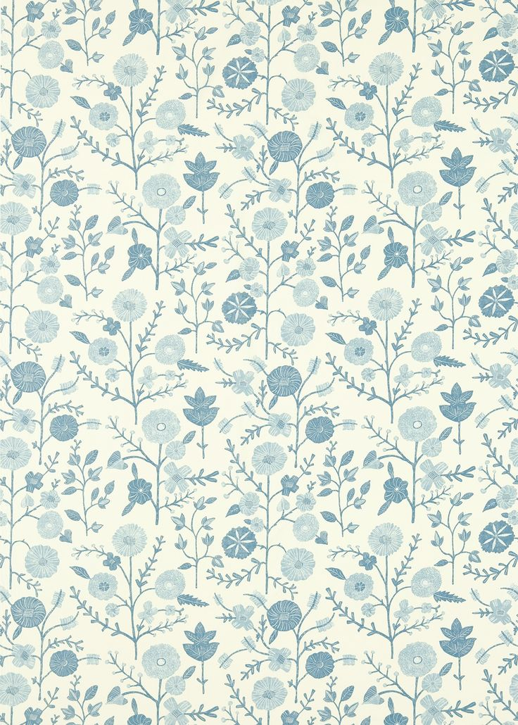 Batik Garden Mineral Blue (223575) - Sanderson Fabrics - An all over fabric design, featuring a stylised floral trail. Shown here in the mineral blue. Other colourways are available. Please request a sample for a true colour and texture match.