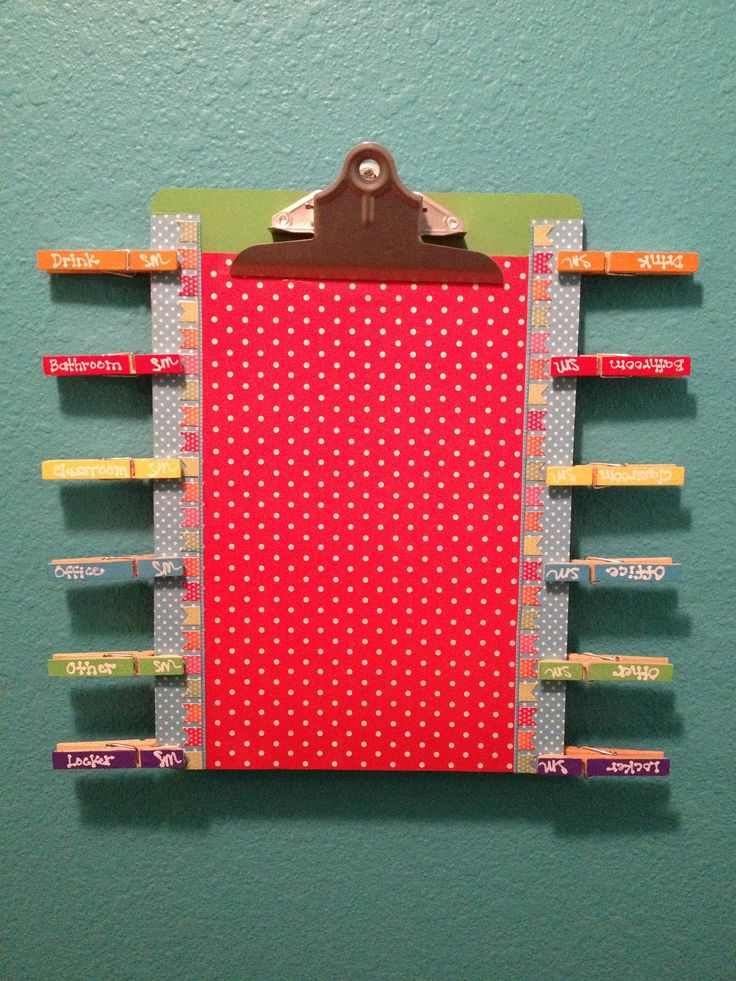 Hall pass and check out board--a log will be clipped to the board; the kids will sign out and grab the appropriate pass