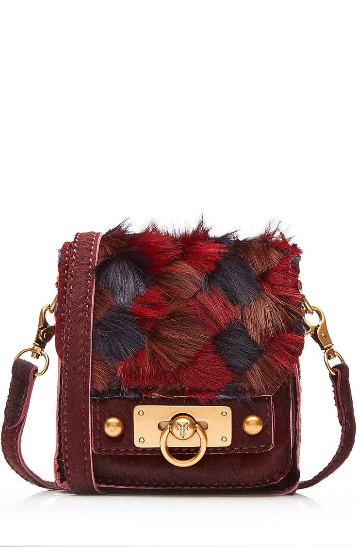 Leather Shoulder Bag Bag with Fur detail | Anna Sui