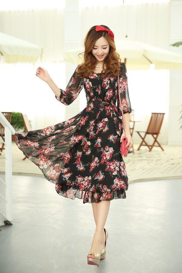 3 4 Sleeve Floral Chiffon Midi Dress Mooiee Yesstyle