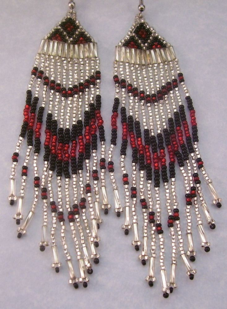 """Black Silver Red 4 1/2"""" Seed Bead Native Style Earrings Made By Me In USA in Jewelry & Watches, Handcrafted, Artisan Jewelry, Earrings 