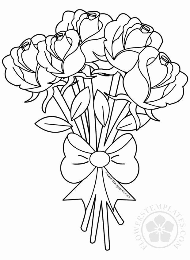 Coloring Picture Of Flowers Luxury Flower Bouquet Of Roses Coloring Page Rose Coloring Pages Flower Coloring Pages Printable Flower Coloring Pages