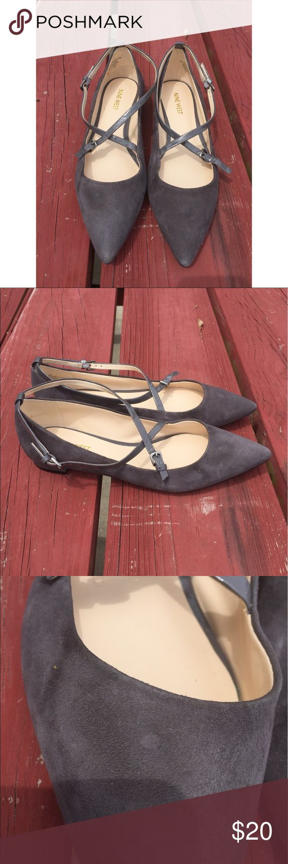 """Nine West Pointy Toe grey gray flats Sz 8 Description: Nine West Womens sz 8 M Gray Grey Anastagia Pointy Toe Flats Criss Cross Straps  Measurements: Length 10"""", Width 3.25"""", Heel .5"""" Condition: This item is gently used with minor signs of wear (wear on bottom, minor spot on top) Nine West Shoes Flats & Loafers"""