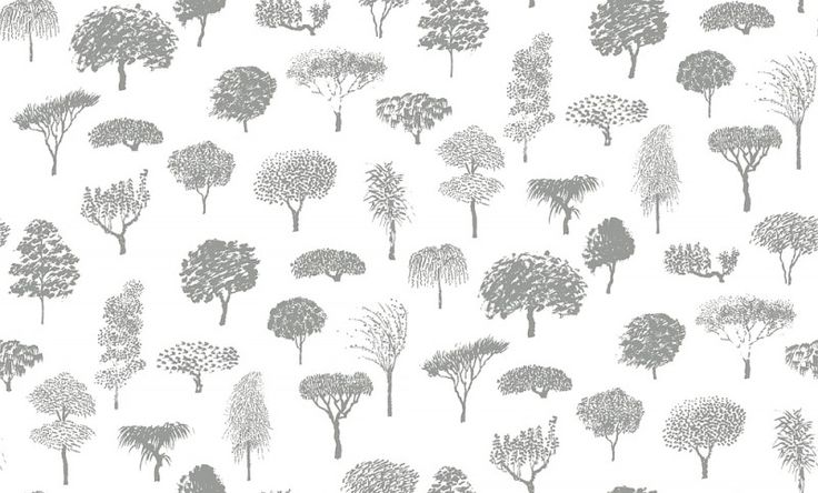 Linnanpuisto Grey (17951) - Marimekko Wallpapers - A sketchy design of single trees as and all over motif in a variety of shapes – with a delicate hand printed effect.  Shown in the light grey on white colourway. Paste the wall. Please request sample for true colour match.