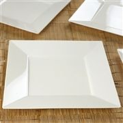 10 Pack Ivory Chambury Plastic Square Shaped Disposable Plate For Wedding Party Event Dinnerware - 10.75""