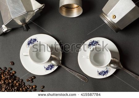 Photograph depicting coffee industry beans, cups and pot.