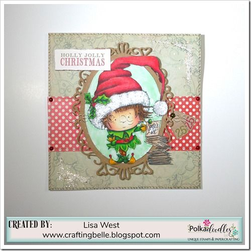 Designed by Lisa West using Little Elf digi stamp from Festive Holibobs and the Holly Jolly Paper Pack
