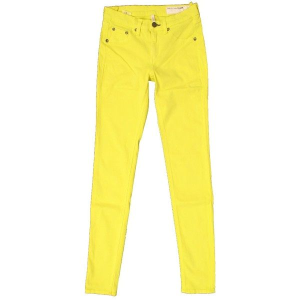 Rag & Bone Neon Yellow Legging (475 RON) ❤ liked on Polyvore featuring pants, leggings, jeans, bottoms, yellow, neon pants, cotton pull on pants, neon yellow pants, matte leggings and yellow leggings