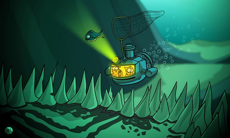 The Sea Cats chase dinner into a dark cave under the sea | 2D illustration by Rowan Ferguson