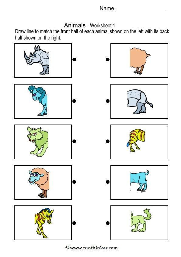 matching animal bodies matching kindergarten worksheets kids math worksheets animal worksheets. Black Bedroom Furniture Sets. Home Design Ideas