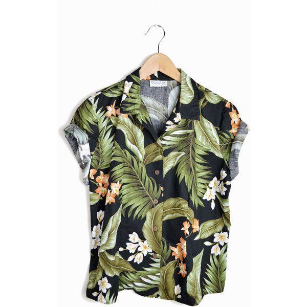 Vintage 80s Floral Hawaiian Shirt in Black Green - m/l (2.420 RUB ...