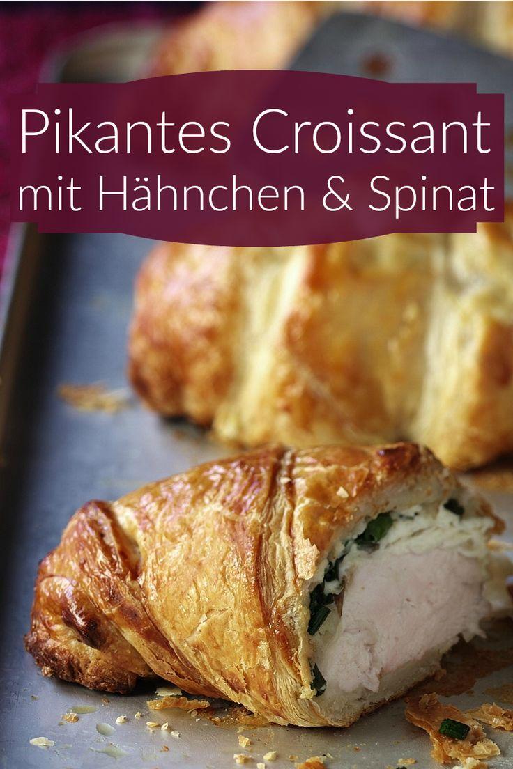 Achtung! Dieses Croissant kann spontane Glücksgefühle und Heißhunger-Gelüste verursachen! Pikantes Croissant mit Hähnchen und Spinat gefüllt.  Zeit: 30 Minuten  