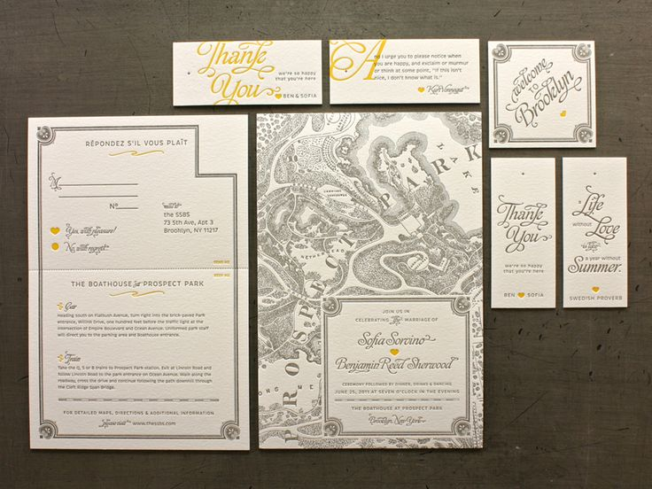 Vintage maps FTW! Designed by the bride and groom for a wedding in Prospect Park, Brooklyn.