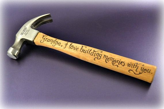 """Personalised hammer for Grandad """"Grandpa, I love building memories with you"""" - gift for Grandad, pyrography(HM01)"""