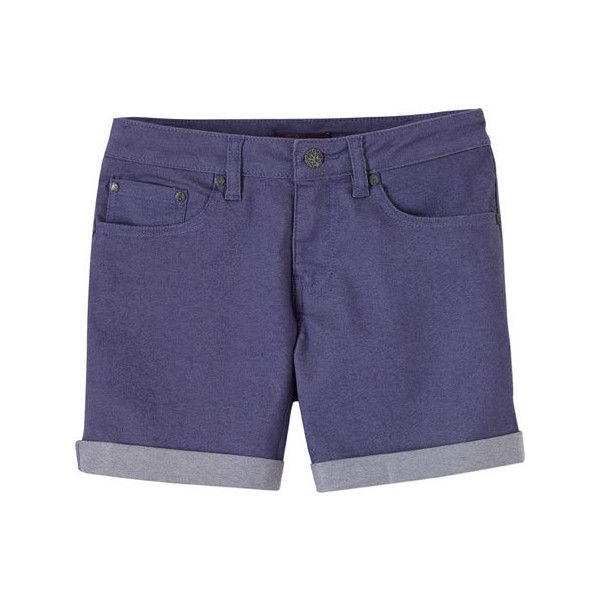 Women's Prana Kara Denim Short - Purple Fog Casual Bottoms ($33) ❤ liked on Polyvore featuring shorts, casual bottoms, casual footwear, stretch denim shorts, short jean shorts, purple jean shorts, purple shorts and jean shorts