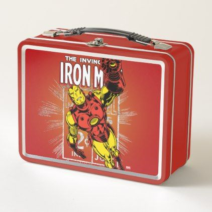 Iron Man Retro Comic Price Graphic Metal Lunch Box - vintage gifts retro ideas cyo