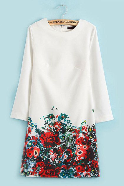 Vintage Flower Print Slim Dress in White