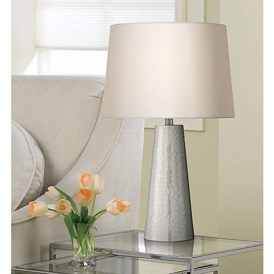 Hammered Metal Cylinder Silver Leaf 27 1/2-Inch-H Table Lamp - #EUW0363 - Euro Style Lighting