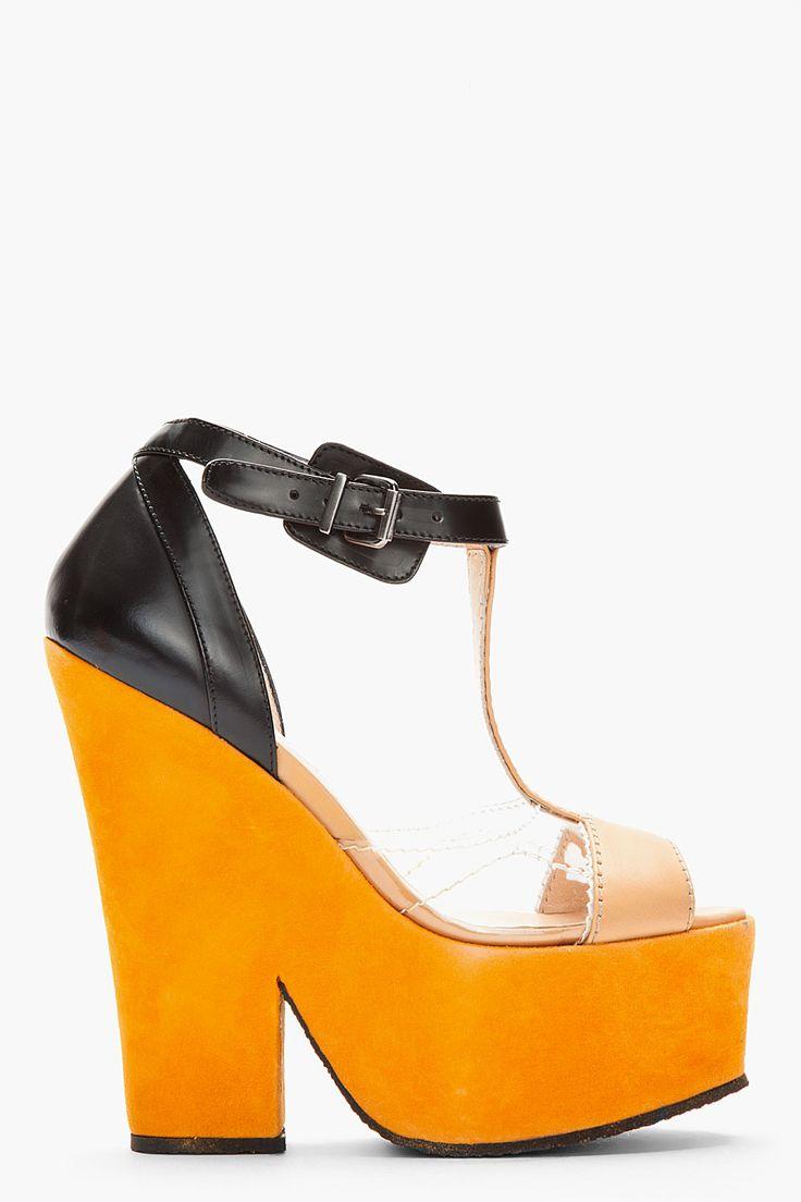 Carven Orange Suede Bicolored Platform Heels