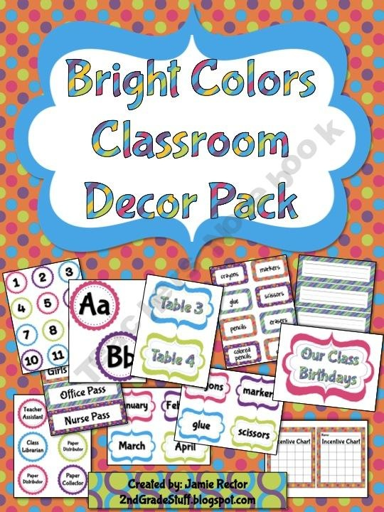 Classroom Decor Packs : Bright colors classroom decor pack pages prek nd