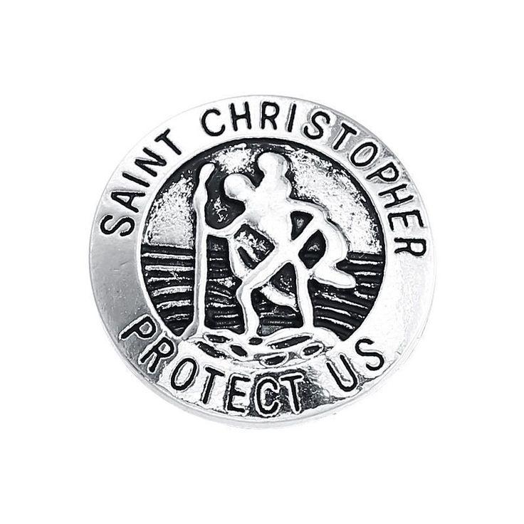 Saint Christopher Interchangeable Noosa Ginger Snaps Button Charm Jewelry 18mm #Handmade #SnapsSnapCharmChunk