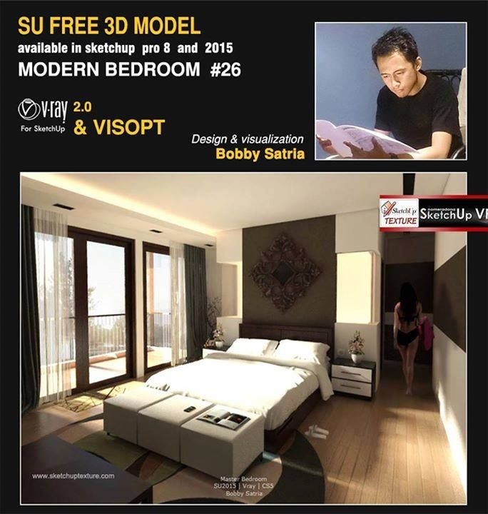 """Master Bed Room""  Model n Vropt :  http://www.sketchuptexture.com/2015/01/free-sketchup-model-modern-bedroom-26-vray-nterior-visopt.html"