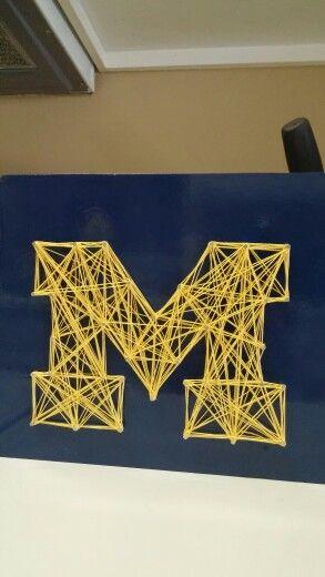DIY M block string art. #goblue university of michigan. go blue. String art.