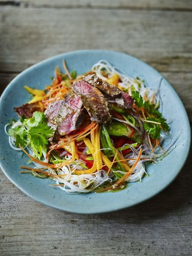 Dean Edwards' Thai beef and mango salad is one of our favourite things to eat – it's crunchy, colourful and a beautiful balance of hot, sweet, salty and sour flavours. Best of all, it's super-healthy, as by keeping most of the ingredients raw you are maximizing the nutritional value. There's very little cooking involved and we promise the whole family will love it.