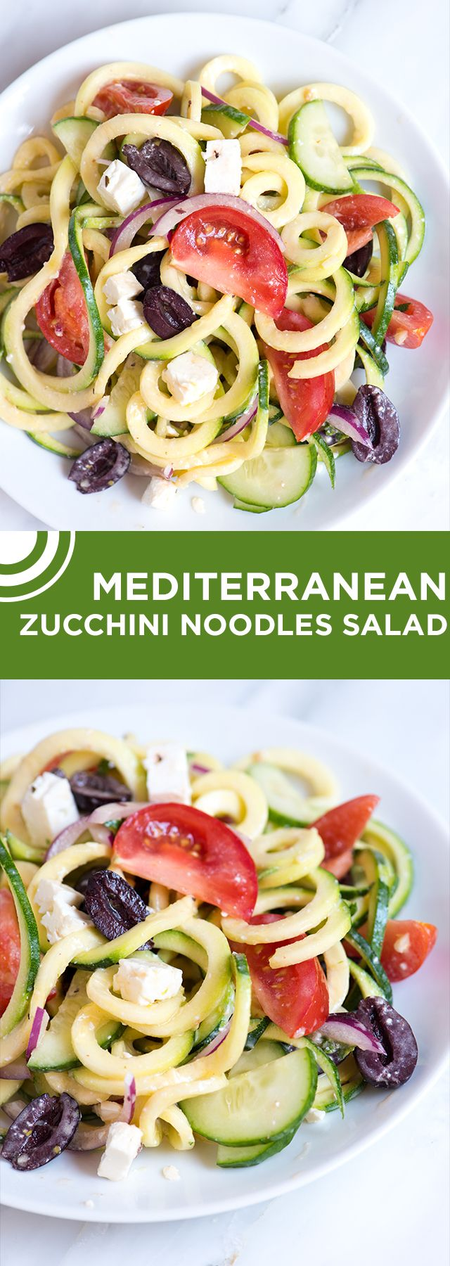 Make this guilt-free zucchini noodles salad in 15 minutes! The yogurt-based dressing has just the right amount of kick from garlic, feta cheese, lemon and Sriracha hot sauce. The salad is perfect to eat straight away or made in advance. From inspiredtaste.net | @inspiredtaste