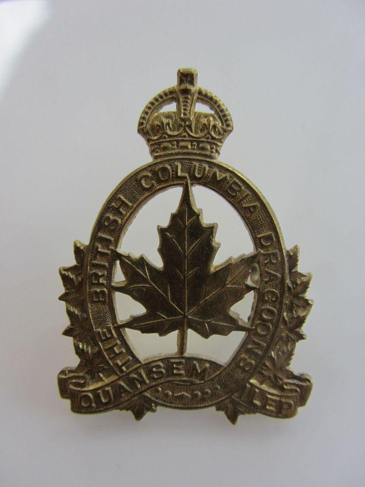 ORIGINAL CANADIAN WW2 CAP BADGE OF THE BRITISH COLUMBIA DRAGOONS. | eBay