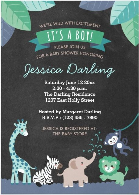 Safari animals boy baby shower invitation in mint blue and green + chalkboard