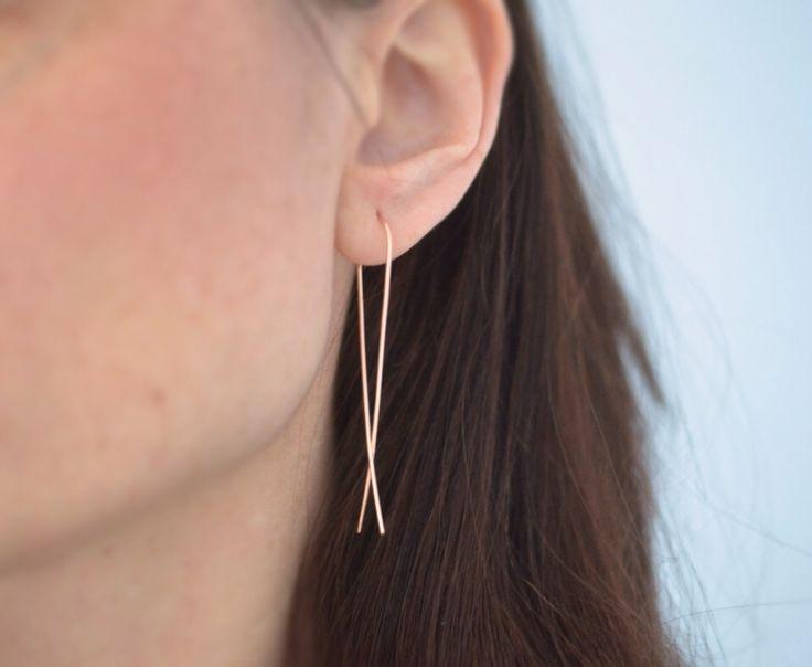 slim rose gold earrings. long sleek gold earrings. gold ribbon earrings. hammered gold earrings. by harmonieandme on Etsy https://www.etsy.com/listing/224673459/slim-rose-gold-earrings-long-sleek-gold