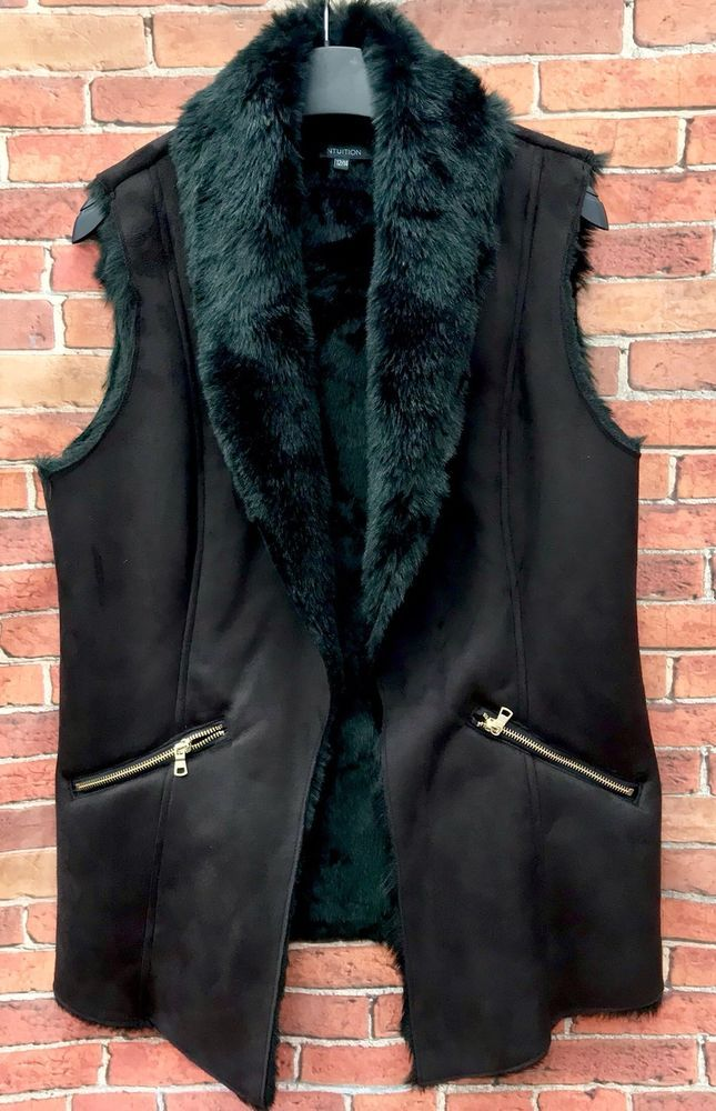 Intuition Women's Waistcoat Size 12/14 Fur Warm Inner Sudette Outer Zip Pockets